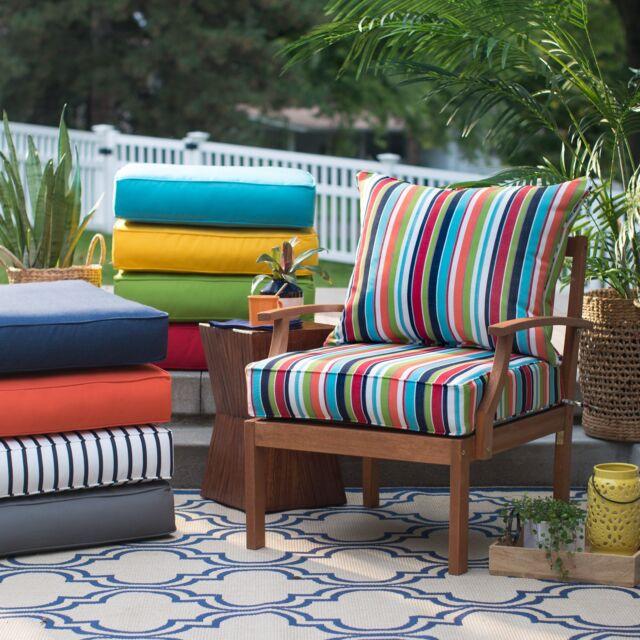Canvas Chili Solid Patio Chair Cushion