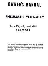 Pneumatic Lift All Ih Farmall A B Av Ai Bn Exhaust Lift Operators Parts Manual