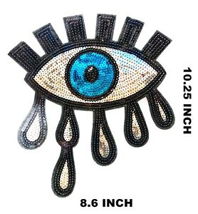 Big Eye Patches Iron on Sequin Patches Gold Small Stars Eyeball Patch DIY Appliques Craft Sewing Accessories Decor