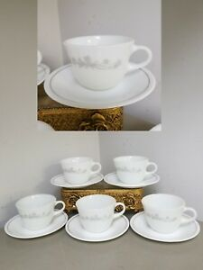 SET-6-COFFEE-TEA-MUGS-amp-SAUCERS-Corelle-CORNING-RIBBON-BOUQUET-Gray-White-Cups
