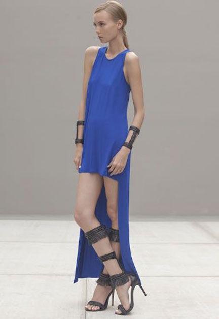 Neuf avec Étiquettes Alexis Designer Elissa Haut Bas Robe Jersey en Blau,