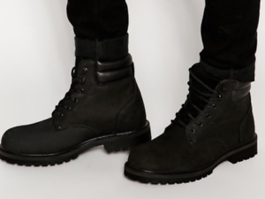 buy top quality reliable quality Details about Mens Jack & Jones Stoke Leather Boot In triple black with  Padded Collar bnib