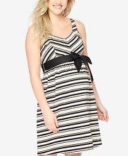 New-Size S-Motherhood Maternity-Women Babydoll Dress-Belted-NeutralBlack Striped