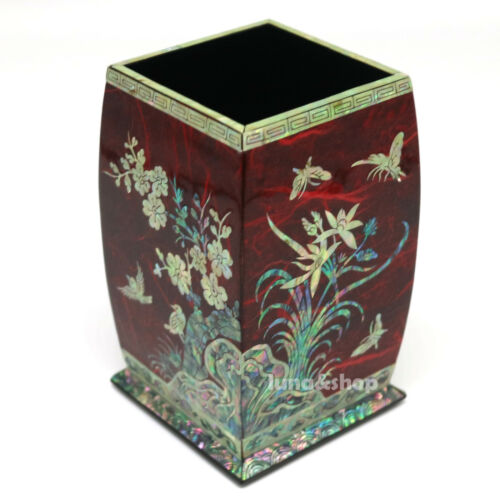 Mother of Pearl Inlay Square Desktop Pen Pencil Brush Wooden Cup Case Holder Box