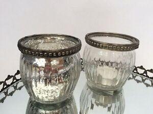 Antique Style Pot Ribbed Vintage Tea Light Candle Holder Wedding Decoration