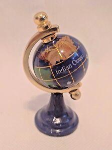 Gemstone World Map.Gold Finish Stand And Blue 3 Tall Rotating Blue Lapiz Gemstone