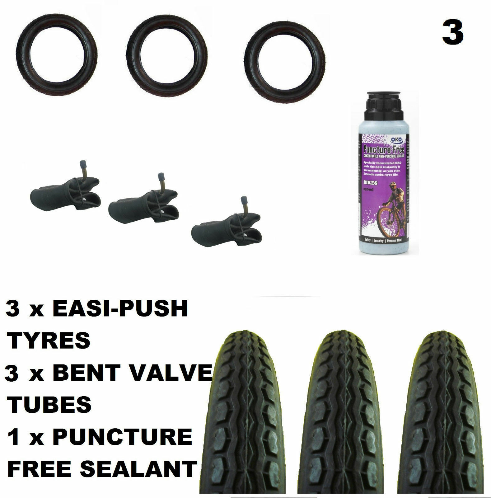 3 x Valco Runabout Pram  TYRES 12 1 2  x 2 1 4 + Bent tubes + Puncture Sealant  is discounted