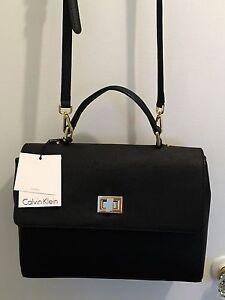 Calvin Klein Leather Saffiano Black Medium Satchel Crossbody Bag NWT $228