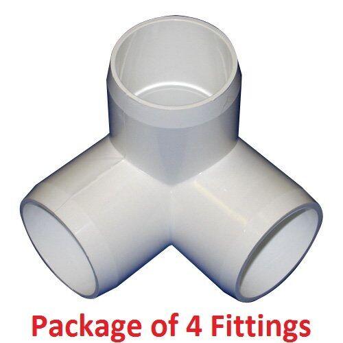 "4 Pack 1-1//4/"" Furniture Grade 3-Way Corner Elbow PVC Fitting"