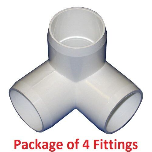 White Pack of 20 PVC FORTS 1//2 inch 4 Way Tee PVC Fitting Elbow Connector