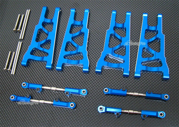 Aluminio Aleación Delantera Brazo inferior trasero + Ajustable Brazo súperior Para Traxxas Slash 4x4