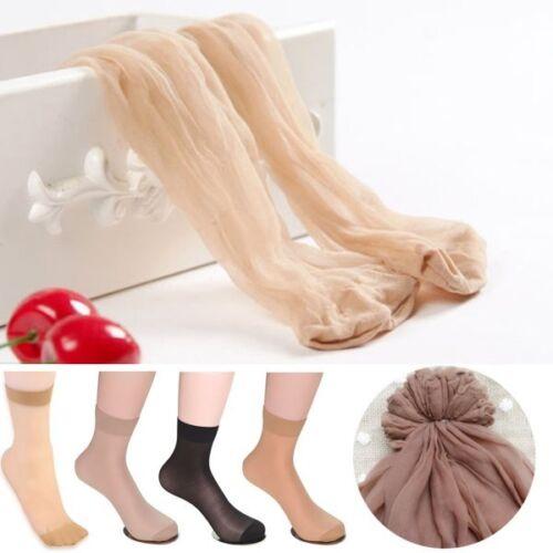 10Pairs Women Nylon Elastic Short Ankle Sheer Stockings Silk Short Socks