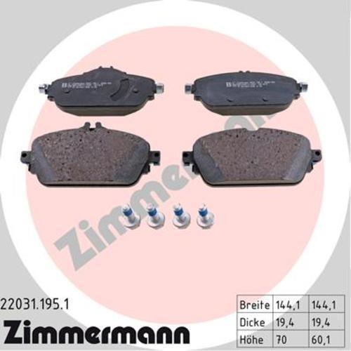 Revêtements Devant Mercedes-Benz C-Classe 3890996 Zimmermann Disques De Frein