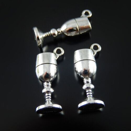 50 pcs Silver Tone Zinc Alloy Goblet Cup Charms Pendant Jewellery Findings 52062