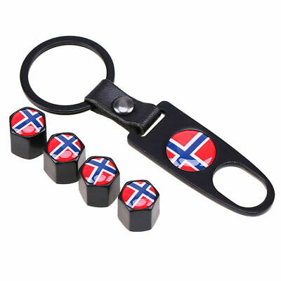 4 Pcs Norge Norway Flag Car Wheel Tire Valve Caps Stem Air Cover with Keychain