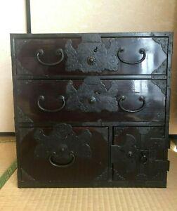 Antique-Japanese-Furniture-Wood-Cabinet-Isho-Dansu-Shonai-Tansu-Black-lacquered