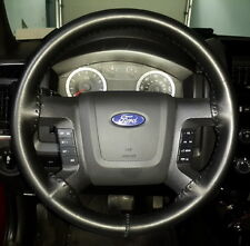 BLACK Leather Steering Wheel Cover for Ford Wheelskins Size 16 X 4 1/4
