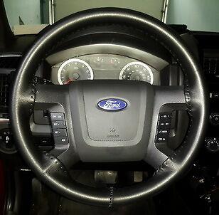 Black Leather Steering Wheel Cover F 150 250 350 Wheelskins Size 15 3 4 X 3 7 8 Ebay