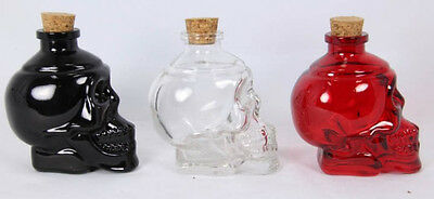 1x 10CM GLASS SKULL DECANTER with cork (choose from black/red/clear)