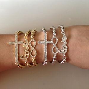New-Gold-Silver-Beads-Crystal-8-Love-Sideways-Cross-Infinity-Stretch-Bracelet