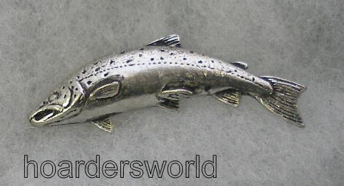 Handmade S Salmon Fish Pin Badge In Fine English Pewter
