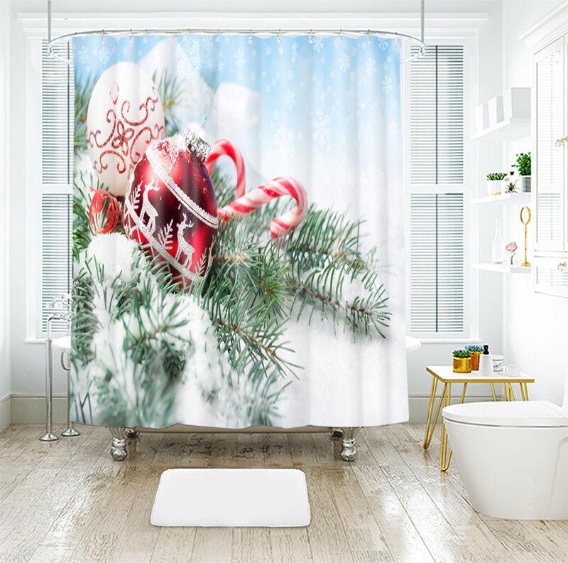 3D Navidad Navidad 32 Fibra Impermeable Baño Cortina de Ducha Baño Ventana Hogar