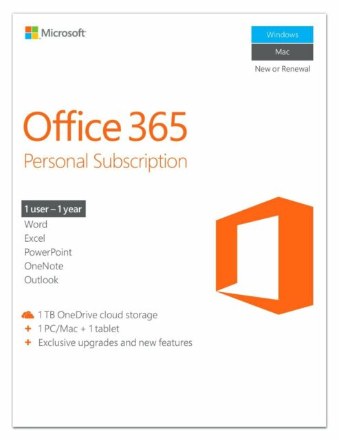 Microsoft Office 365 Personal Word Excel PowerPoint OneNote Outlook