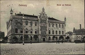Zielenzig-Sul-cin-Polen-Polska-Schlesien-1907-Markt-Rathaus-gelaufen-Burguffeln