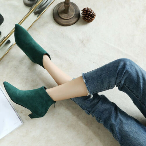 Plus Size 34-46 Womens Faux Suede Pointed Toe Bootie Kitten Mid Heel Ankle Boots
