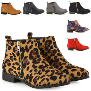 Womens-Chelsea-Ankle-Boots-Flat-Ladies-Biker-Pixie-Zip-Casual-Booties-Shoes-Size