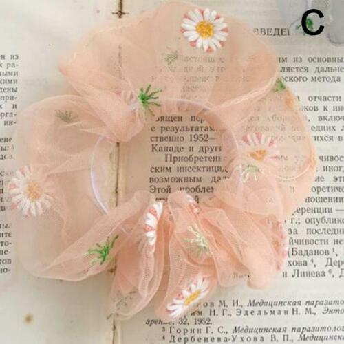 Small Embroidered Daisy Hair Scrunchies Ponytail Hair Rope Elastic Tie