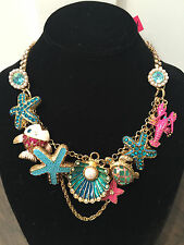 NWT Betsey Johnson Under The Sea Lobster Fish shell Turtle starfish Necklace