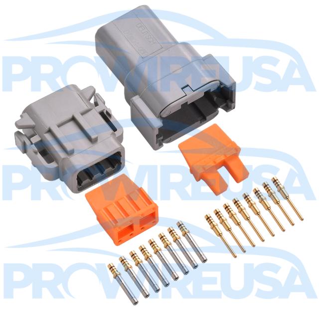 Deutsch DTM 8 Pin Connector Kit 22-18 AWG Gold MOTEC