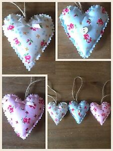 Brilliant Details About Set Of 3 Handmade Fabric Shabby Chic Hanging Hearts Padded Love Hearts Home Interior And Landscaping Ponolsignezvosmurscom