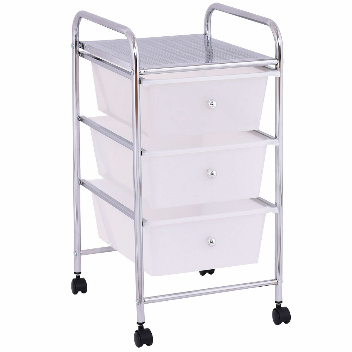 3 Drawer White Metal Rolling Home Office Kitchen Storage Cart File Cabinet Mail