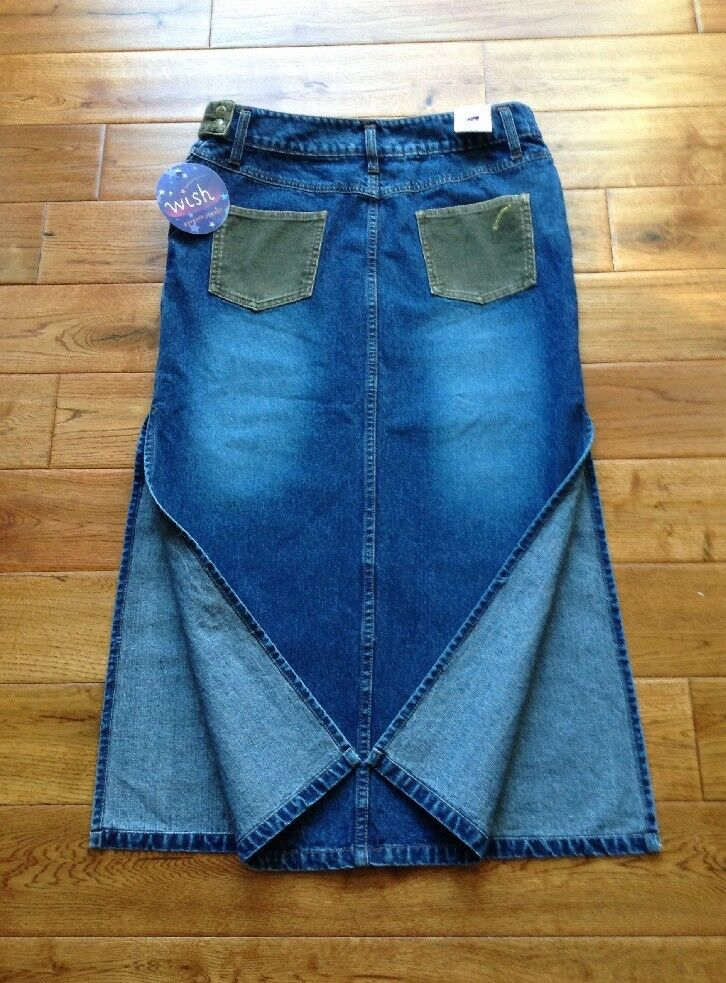 NWT  GORGEOUS  WISH Denim Long Maxi Jean SZ 11M W33 L34 W  Side Slits BEAUTIFUL