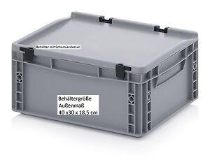 Kunststoff-Allzweck-Aufbewahrungskiste-Stapelkiste-Scharnier-Deckel-40x30x18-5