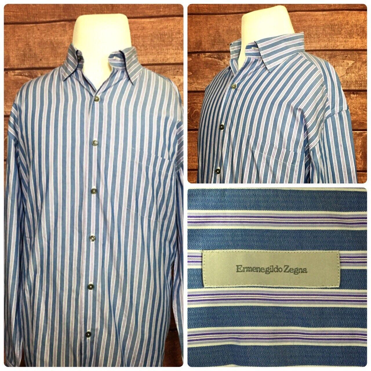 e30b302aa Mens Shirts L S bluee Purple White Striped Size XL Zegna Ermenegildo ...