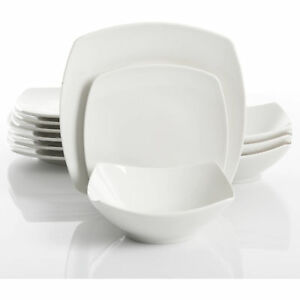 Stock photo  sc 1 st  eBay & Dinnerware Set 12 Pcs White Square Dishes Service for 4 Casual ...