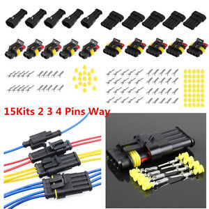 15Sets Car Wire Connector Plug Kit Electrical Waterproof Brand New High Quality