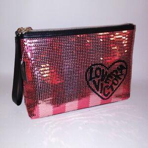 Victoria-039-s-Secret-Make-Up-Bag-Cosmetic-Black-Pink-Sequin-Bling-Clutch