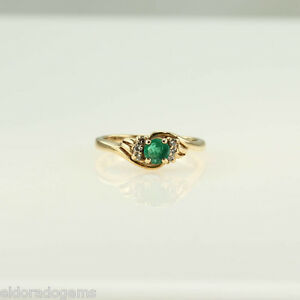 0-45-CT-ROUND-EMERALD-amp-DIAMOND-COCKTAIL-CLUSTER-RING-14K-YELLOW-GOLD-SIZE-US6