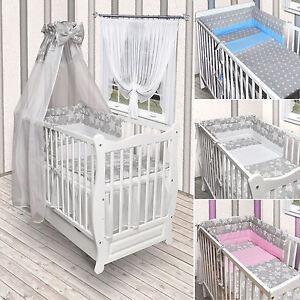 Babybett Kinderbett Weiss Sterne Bettset Komplett Neu Matratze