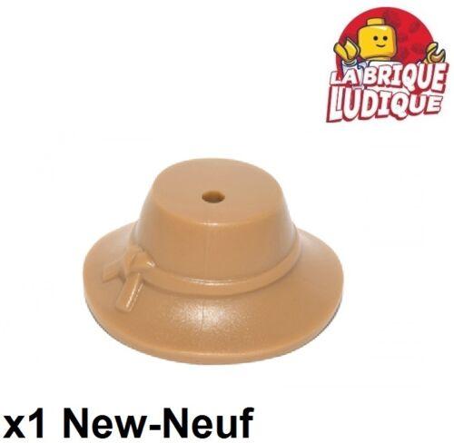 1x Minifig headgear hat chapeau fermier brim medium dark flesh 13788 NEUF Lego