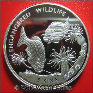 1997-PAPUA-NEW-GUINEA-5-KINA-93oz-SILVER-PROOF-RIBBON-FISH-ENDANGERED-WILDLIFE