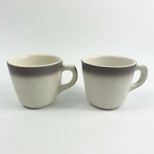 Buffalo China Coffee Tea Cups Vintage Restaurant Ware Purple White Set of 2 USA