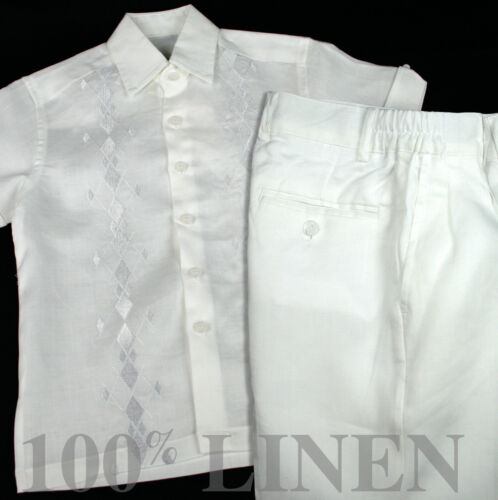 Infant 100/% White Linen Set Diamond Embroidered Shirt with Pant Sizes 12M to 24M
