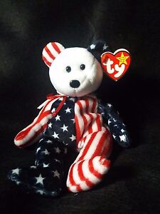 SPANGLE beanie baby white face with space on inside tag (error) RARE ... 5e5e7df83e