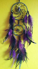 HANDMADE NATIVE AMERICAN DESIGN PURPLE FEATHER DREAMCATCHER AND AMETHYST CRYSTAL