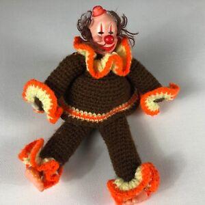Funny Plush Clown VTG Plastic Face Feet Crochet Clothes Happy Creepy Stuffed Toy